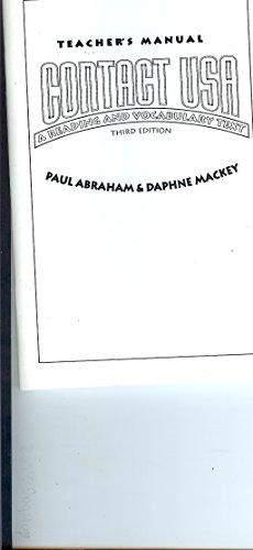Contact USA: Teacher's Manual: Abraham, Paul; Mackey, Daphne