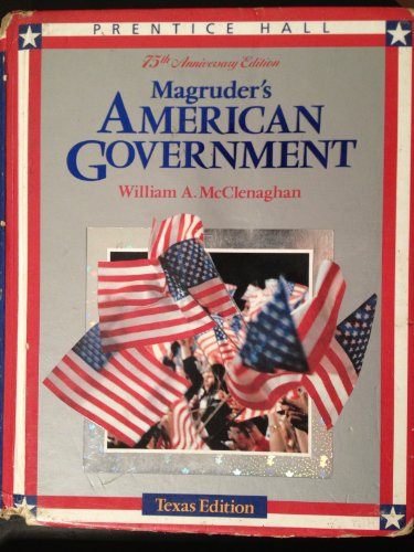 Magruders American Government, 1993: Texas (0135445604) by William A. McClenaghan