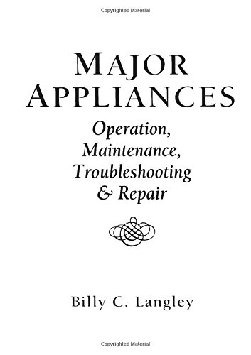 Major Appliances: Operation, Maintenance, Troubleshooting and Repair 9780135448342 This book provides a basic thorough and practical study of major appliances used in most residences. The fundamentals necessary for successful servicing of major appliances are covered first, along with chapters on safety, the service occupation, customer relations, tools and instruments, service techniques, installation, basic electricity and electronics, proper lubrication procedures, refrigeration principles, air control, water chemistry, and combustion.