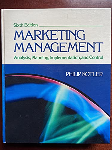 9780135561508: Marketing Management: Analysis, Planning and Control