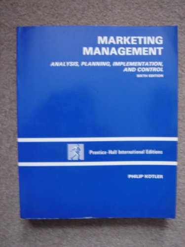 9780135562673: Marketing Management: Analysis, Planning and Control