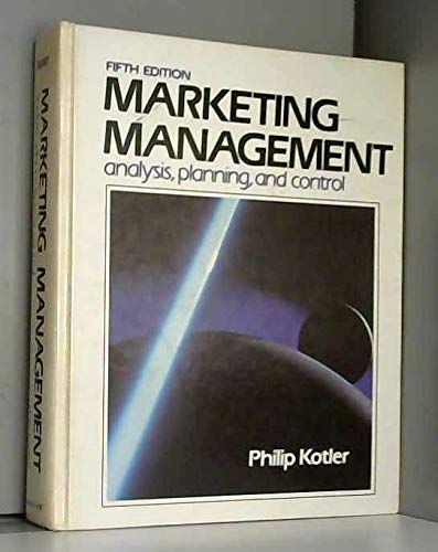 9780135579275: Marketing Management: Analysis, Planning and Control (The Prentice-Hall series in marketing)