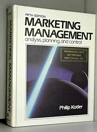 9780135579275 Marketing Management Analysis Planning And Control