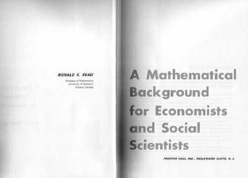 9780135609873: Mathematical Background for Economists and Social Scientists (Prentice-Hall series in mathematical economics)