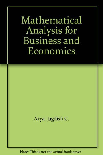 9780135610190: Mathematical Analysis for Business and Economics