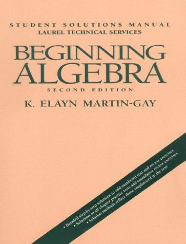 9780135683873: Beginning Algebra: Student Solutions Manual