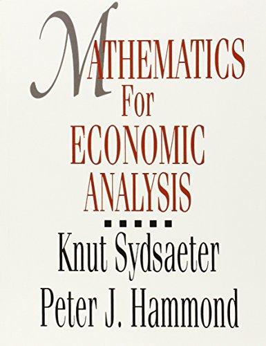 Mathematics for Economic Analysis (013583600X) by Knut Sydsaeter; Peter J. Hammond