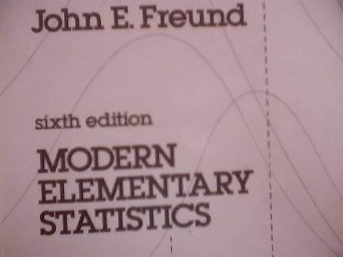 Modern Elementary Statistics Sixth Edition Solutions Manual: John E. Freund