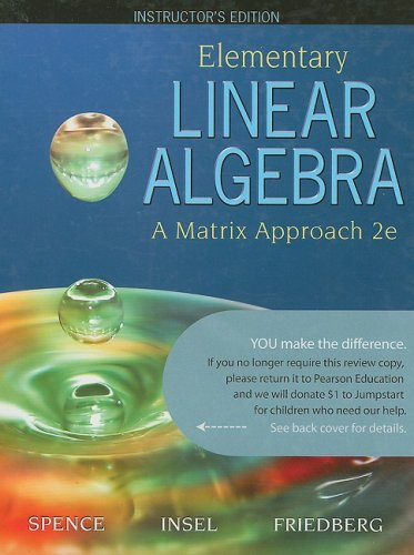 9780136001102: Elementary Linear Algebra: A Matrix Approach; Instructor's Edition