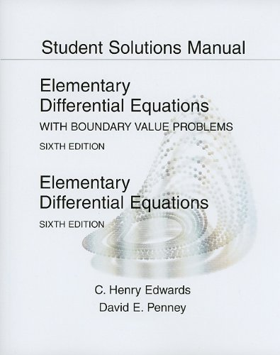 9780136006152: Student Solutions Manual for Elementary Differential Equations