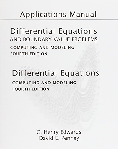 9780136006794: Applications Manual for Differential Equations and Boundary Value Problems: Computing and Modeling