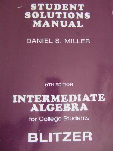 Student Solutions Manual (Component): Robert F. Blitzer