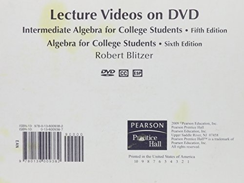 9780136009382: DVD Lecture Series  for Intermediate Algebra for College Students