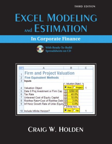 9780136025610: Excel Modeling and Estimation in Corporate Finance (Prentice Hall Series in Finance)