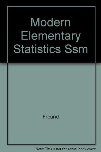 9780136027560: Modern Elementary Statistics Ssm