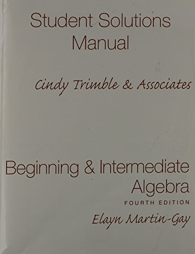 9780136030829: Beginning and Intermediate Algebra: Student Solutions Manual - Component