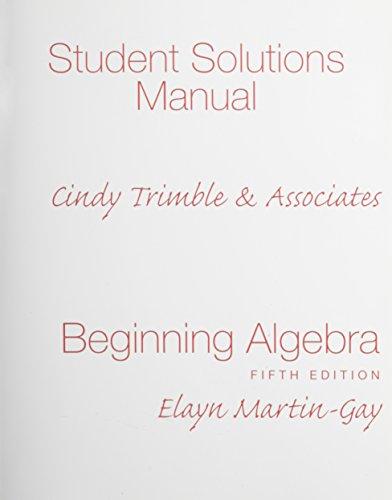 9780136031086: Student Solutions Manual for Beginning Algebra
