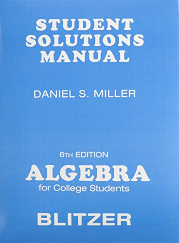 9780136031406: Student Solutions Manual for Algebra for College Students, 6th Edition