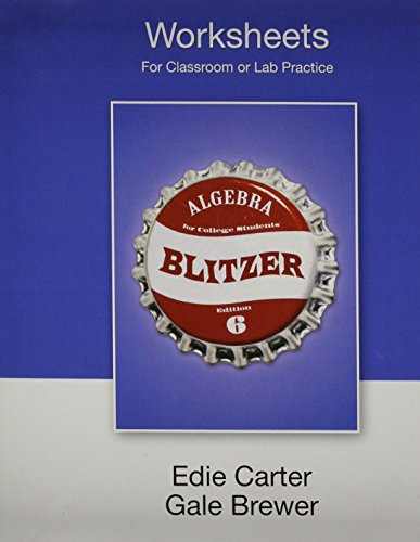 Worksheets for Algebra for College Students (9780136031420) by Blitzer, Robert F.
