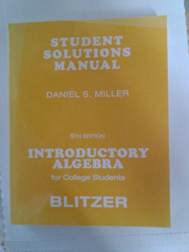 9780136031468: Student Solutions Manual for Introductory Algebra for College Students
