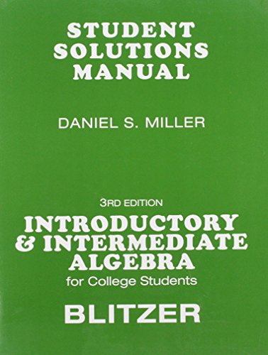 9780136031666: Student Solutions Manual for for Introductory & Intermediate Algebra for College Students