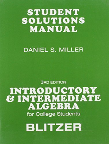 Student Solutions Manual for for Introductory &: Blitzer, Robert F.