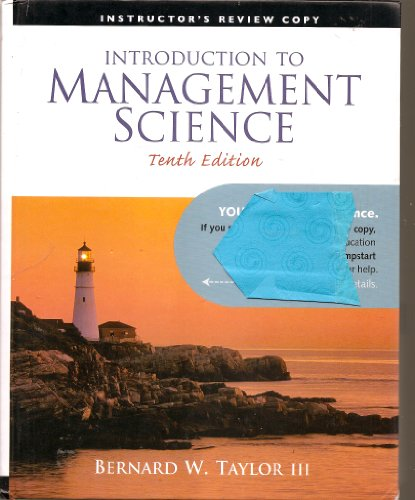 9780136064640: Introduction to Management Science (Instructor's Edition) Edition: tenth