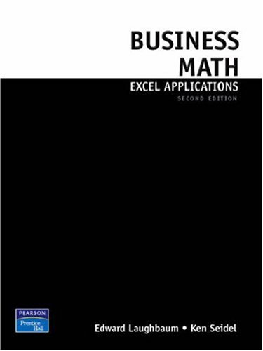 9780136071846: Business Math Excel Applications for Business Mathematics (2nd Edition)
