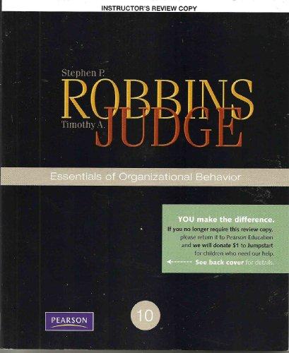 Essentials of Organizational Behavior: Stephen P. Robbins,