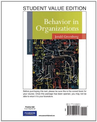 9780136090274: Behavior in Organizations, Student Value Edition (10th Edition)