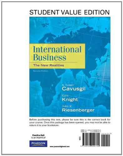 International Business: The New Realities, Student Value Edition (2nd Edition): Cavusgil, S. Tamer,...