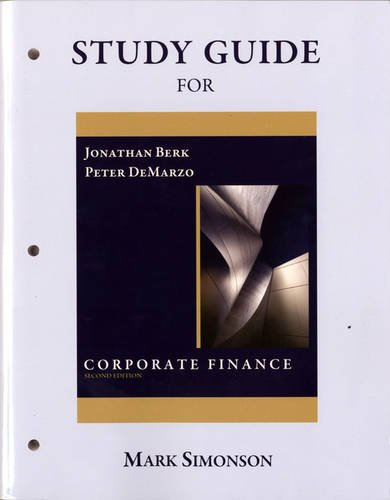 9780136103950: Study Guide for Corporate Finance