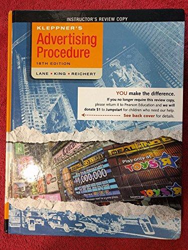 9780136110842: Kleppner's Advertising Procedure (Instructor's Review Copy)