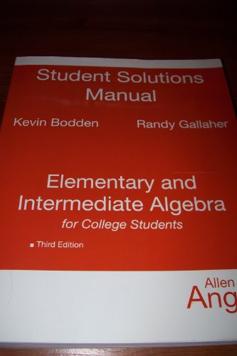 9780136149460: Student Solutions Manual for Elementary and Intermediate Algebra for College Students