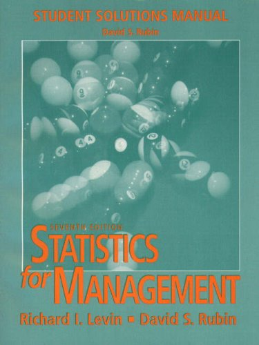 9780136196365: Statistics for Management: Student Solutions Manual