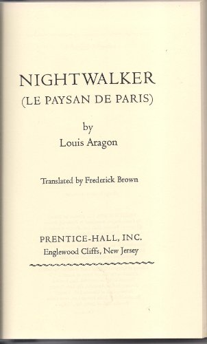 9780136224808: Nightwalker (Le paysan de Paris) (New library of French classics)