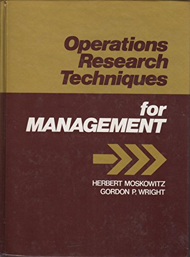 9780136373896: Operations Research Techniques for Management