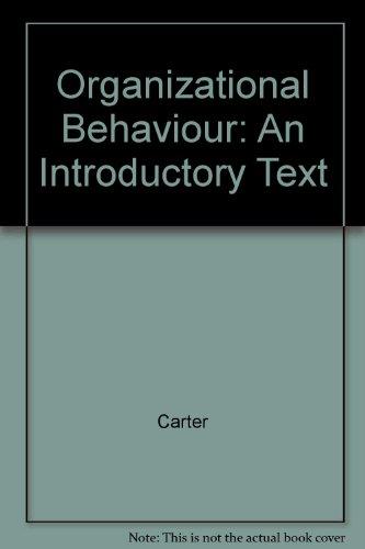 9780136390305: Organizational Behaviour (Bbm): An Introductory Text