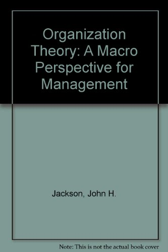9780136414070: Organization Theory: A Macro Perspective for Management