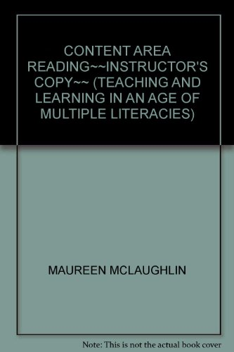 9780137008636: CONTENT AREA READING~~INSTRUCTOR'S COPY~~ (TEACHING AND LEARNING IN AN AGE OF MULTIPLE LITERACIES)
