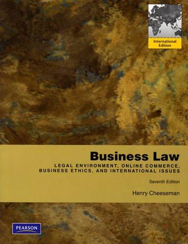 9780137018444: Business Law: International Edition