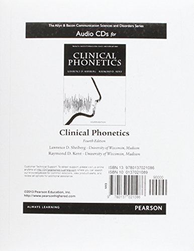 Audio CDs for Clinical Phonetics (The Allyn: Shriberg, Lawrence D.;