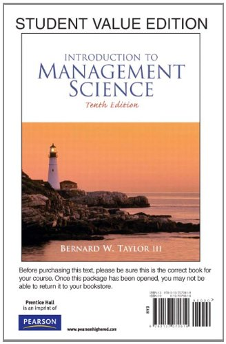 9780137070619: Introduction to Management Science, Student Value Edition (10th Edition)