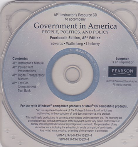 9780137153244: Government In America - People, Politics, and Policy 14E AP Edition - INSTRUCTOR'S RESOURCE cd - Includes AP Instructor's Manual, AP Power Point Presentations, AP Digital Transparency Masters, AP TestGen Computerized Test Bank