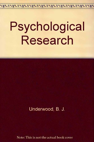 9780137325290: Psychological Research