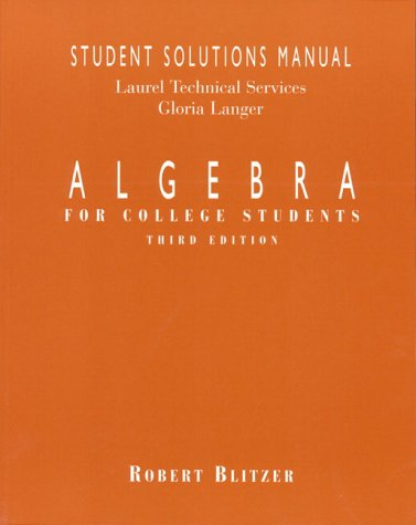 9780137522897: Algebra: For College Students