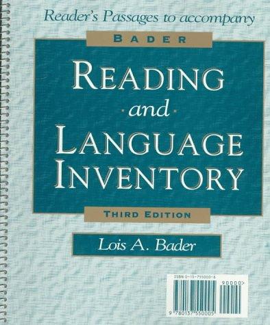 9780137550005: Bader Reading and Language Inventory with Booklet (Graded Reading Passages) Pkg.