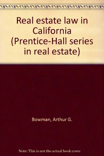 9780137640010: Real estate law in California (Prentice-Hall series in real estate)