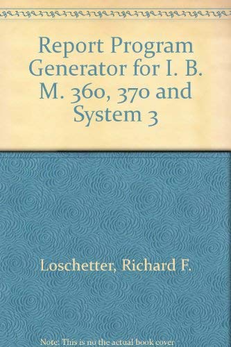 9780137737130: Report Program Generator for I. B. M. 360, 370 and System 3