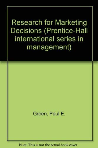 9780137741588: Research for Marketing Decisions (Prentice-Hall international series in management)